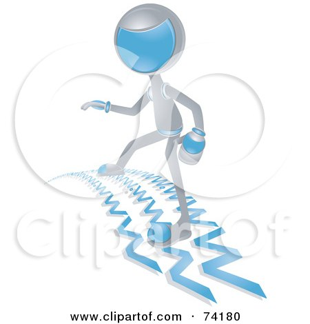 Royalty-Free (RF) Clipart Illustration of a Future Man Surfing The Web by BNP Design Studio