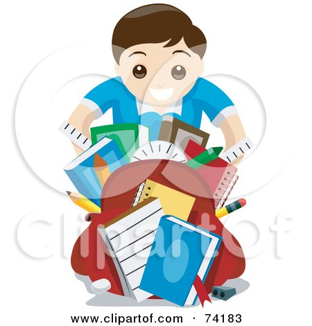 Royalty-Free (RF) Clipart Illustration of a Happy School Boy Showing Off His School Supplies by BNP Design Studio