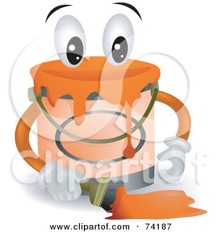 Paint Can Character Holding A Paint Brush Posters, Art Prints