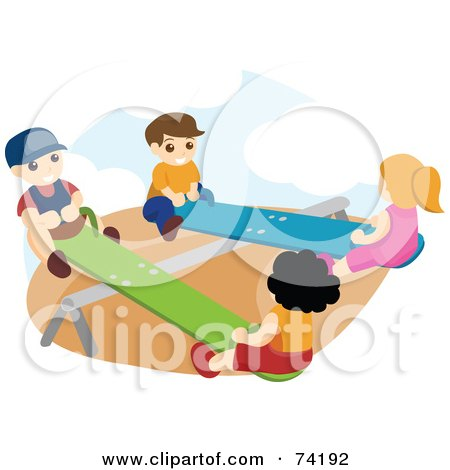 Royalty-Free (RF) Clipart Illustration of Boys And Girls Playing On Teeter Totters by BNP Design Studio