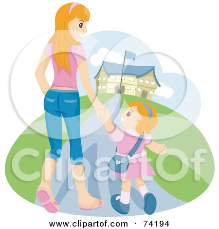 Young Mom Walking Her Daughter To School Posters, Art Prints