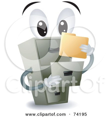 Royalty-Free (RF) Clipart Illustration of a Filing Cabinet Character Holding A Folder by BNP Design Studio