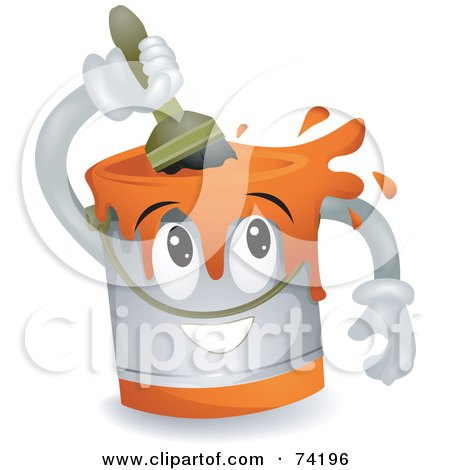 Paint Can Character Stirring Paint Posters, Art Prints