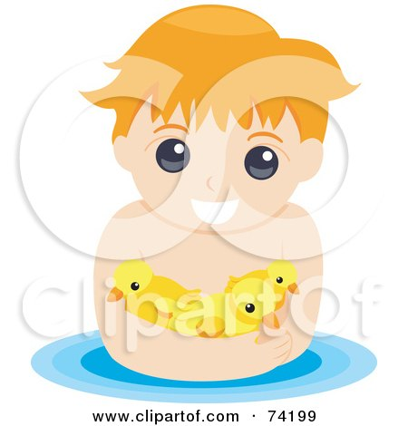 Royalty-Free (RF) Clipart Illustration of a Little Boy Swimming With Ducks by BNP Design Studio