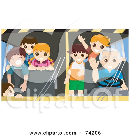 Royalty-Free (RF) Clipart Illustration of a Friendly School Bus Driver And Students Waving by BNP Design Studio