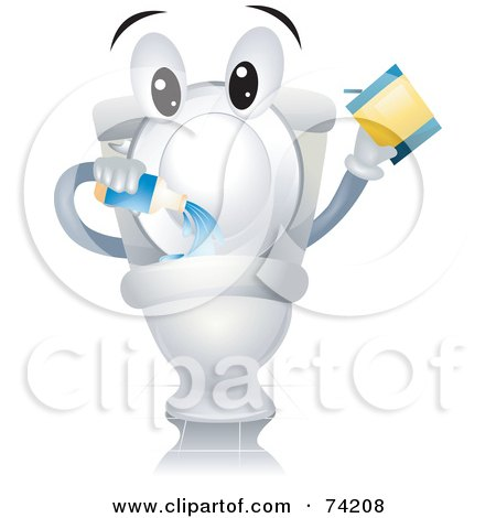 Royalty-Free (RF) Clipart Illustration of a Toilet Character Pouring In Cleanser by BNP Design Studio
