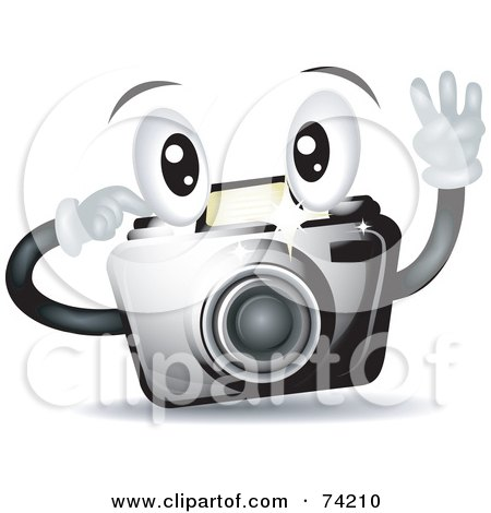 Royalty-Free (RF) Clipart Illustration of a Friendly Camera Character Snapping A Picture by BNP Design Studio