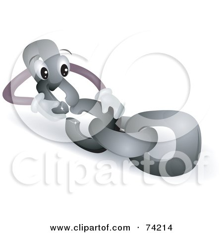Royalty-Free (RF) Clipart Illustration of a Chain Link Character Linking Itself by BNP Design Studio