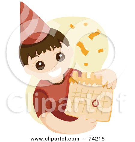 Royalty-Free (RF) Clipart Illustration of a Little Birthday Boy Wearing A Party Hat And Holding A Calendar by BNP Design Studio