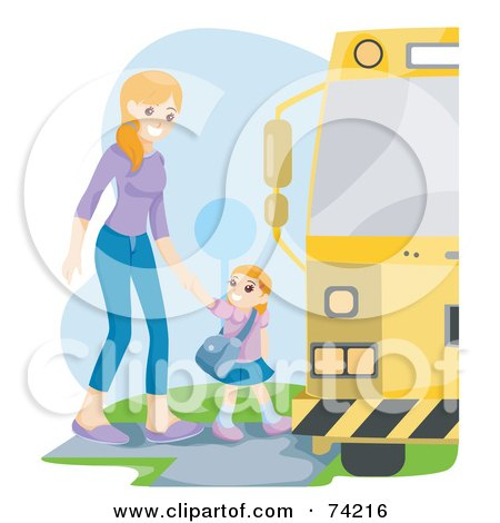 Royalty-Free (RF) Clipart Illustration of a Proud Mom Walking Her Daughter To A School Bus by BNP Design Studio