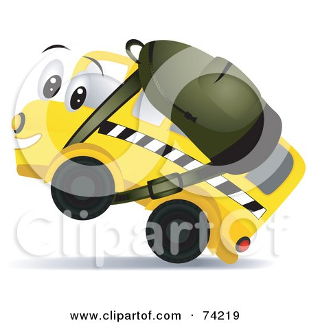 Royalty-Free (RF) Clipart Illustration of a School Bus Character Wearing A Backpack by BNP Design Studio