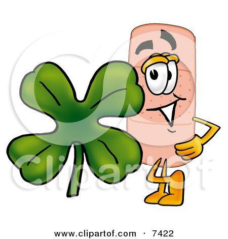 Clipart Picture of a Bandaid Bandage Mascot Cartoon Character With a Green Four Leaf Clover on St Paddy's or St Patricks Day by Toons4Biz