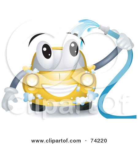Royalty-Free (RF) Clipart Illustration of a Yellow Car Character Washing Itself by BNP Design Studio