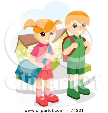 Royalty-Free (RF) Clipart Illustration of a School Boy And Girl Waiting At A Bus Stop by BNP Design Studio