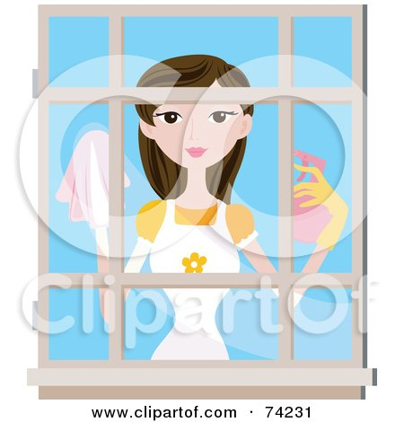 Royalty-Free (RF) Clipart Illustration of a Pretty Lady Cleaning A Window by BNP Design Studio