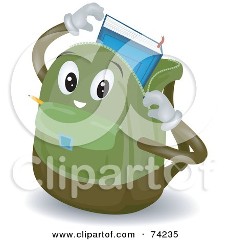 Royalty-Free (RF) Clipart Illustration of a Backpack Character Inserting A Book by BNP Design Studio