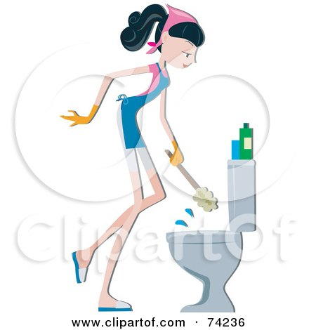 Royalty-Free (RF) Clipart Illustration of a Home Maker Scrubbing A Toilet by BNP Design Studio