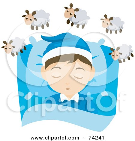 Royalty-Free (RF) Clipart Illustration of a Little Boy Resting His Head On A Pillow And Counting Sheep by BNP Design Studio