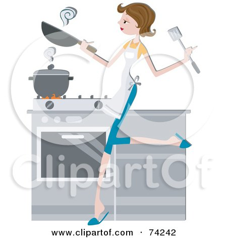 Royalty-Free (RF) Clipart Illustration of a Pretty Home Maker Cooking In A Kitchen by BNP Design Studio