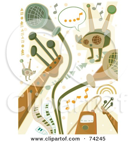 Royalty-Free (RF) Clipart Illustration of a Digital Collage Of Green And Brown Music Doodles by BNP Design Studio