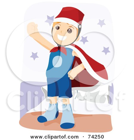 Royalty-Free (RF) Clipart Illustration of a Little Boy Pretending To Be A Super Hero by BNP Design Studio