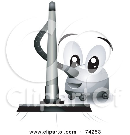 Royalty-Free (RF) Clipart Illustration of a Friendly Vacuum Cleaner Character Vacuuming by BNP Design Studio