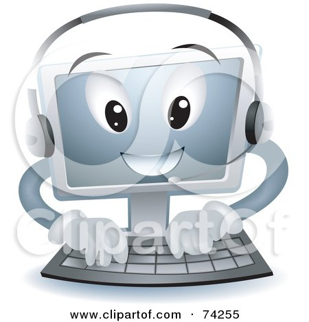 Royalty-Free (RF) Clipart Illustration of a Computer Character Typing And Wearing A Headset by BNP Design Studio