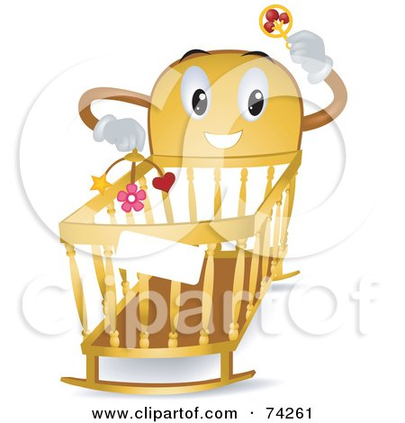 Royalty-Free (RF) Clipart Illustration of a Baby Crib Character Holding A Rattle And Mobile by BNP Design Studio