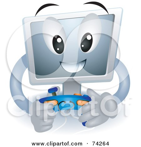 Royalty-Free (RF) Clipart Illustration of a Computer Character Playing Video Games by BNP Design Studio