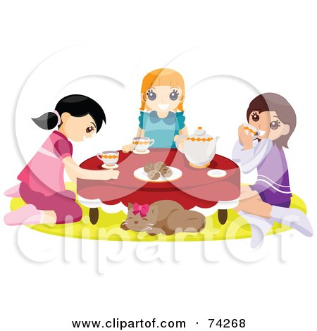 Royalty-Free (RF) Clipart Illustration of a Cat Napping While Girls Hold A Tea Party by BNP Design Studio