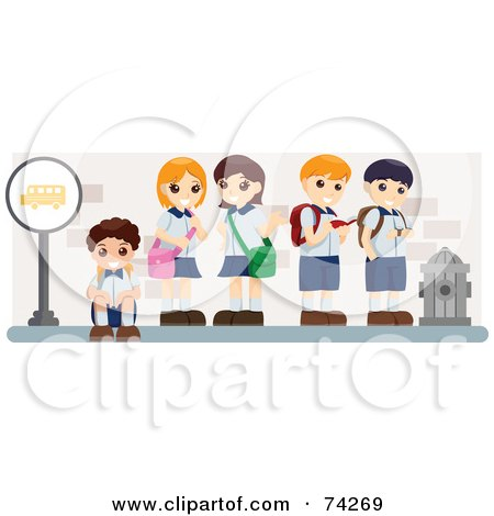 Royalty-Free (RF) Clipart Illustration of School Kids Standing And Sitting At A Bus Stop by BNP Design Studio