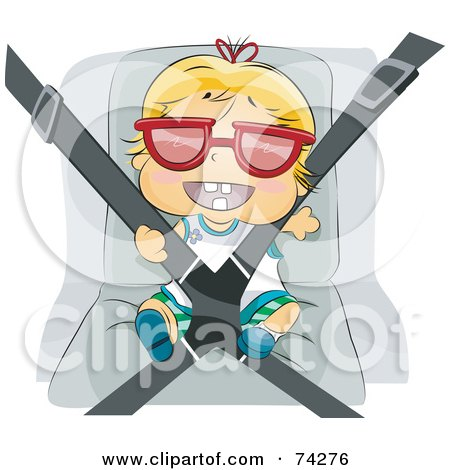 Royalty-Free (RF) Clipart Illustration of a Happy Blond Baby Wearing Sunglasses And Strapped Into His Car Seat by BNP Design Studio