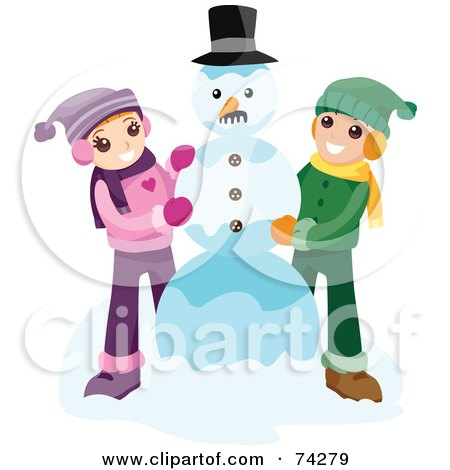 Royalty-Free (RF) Clipart Illustration of a Boy And Girl Making A Snowman Together by BNP Design Studio