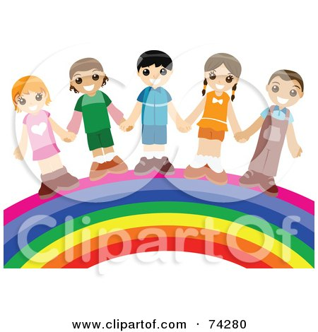 Royalty-free clipart picture of a group of happy children holding hands and