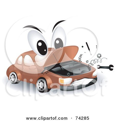 Royalty-Free (RF) Clipart Illustration of a Broken Down Car Character by BNP Design Studio