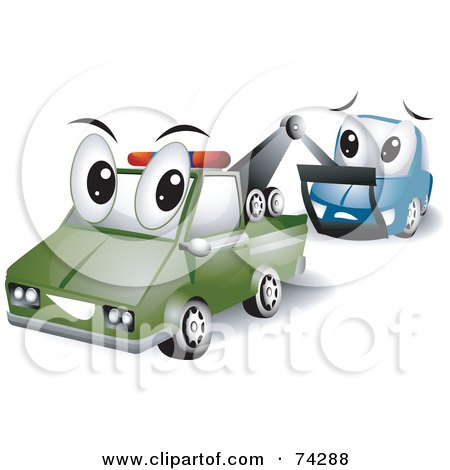 Royalty-Free (RF) Clipart Illustration of a Tow Truck Character Towing A Car by BNP Design Studio