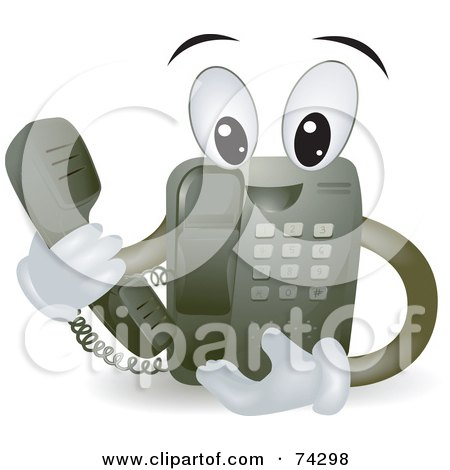 Royalty-Free (RF) Clipart Illustration of a Friendly Telephone Character Holding The Receiver by BNP Design Studio