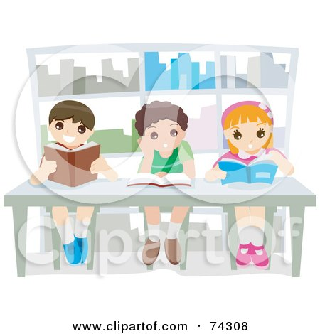 Royalty-Free (RF) Clipart Illustration of Three Happy School Children Reading Books In A Library by BNP Design Studio
