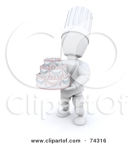Royalty-Free (RF) Clipart Illustration of a 3d White Character Chef Holding An Elegant Wedding Cake by KJ Pargeter