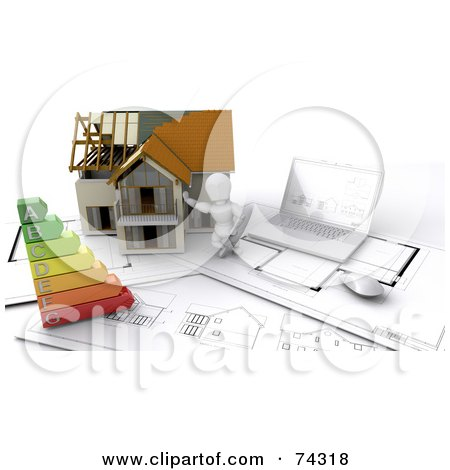 Royalty-Free (RF) Clipart Illustration of a 3d White Character Builder With A Home, Blueprints And Energy Chart by KJ Pargeter