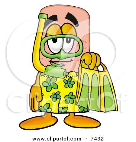 Bandaid Bandage Mascot Cartoon Character in Green and Yellow Snorkel Gear Posters, Art Prints