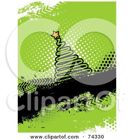 Royalty-Free (RF) Clipart Illustration of a Grungy Green Christmas Tree Background by KJ Pargeter
