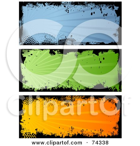Digital Collage Of Blue, Green And Orange Grungy Banners Posters, Art Prints