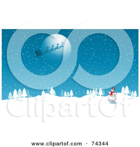 Royalty-Free (RF) Clipart Illustration of a Happy Snowman Watching Santa's Sleigh Flying In Front Of The Full Moon by KJ Pargeter