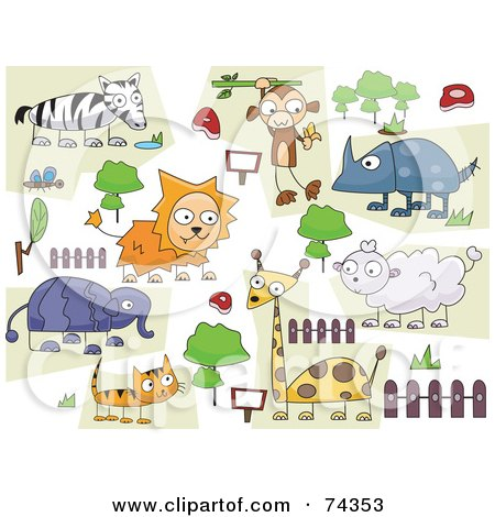 Royalty-Free (RF) Clipart Illustration of a Digital Collage Of Zoo Animal Doodled On White by BNP Design Studio