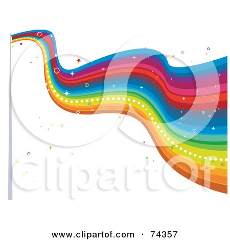 Royalty-Free (RF) Clipart Illustration of a Sparkly Rainbow Flag Waving by BNP Design Studio