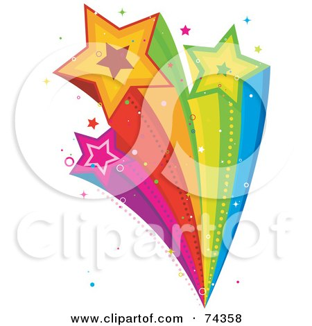 Royalty-Free (RF) Clipart Illustration of a Rainbow Shooting Star Burst With Sparkles by BNP Design Studio