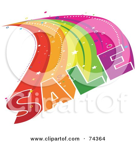 Royalty-Free (RF) Clipart Illustration of a Colorful Sale Burst Over White by BNP Design Studio