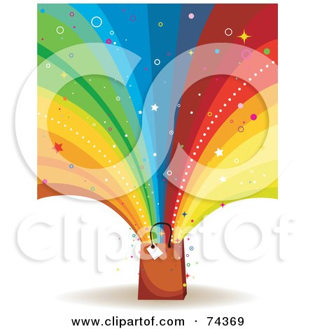 Royalty-Free (RF) Clipart Illustration of a Colorful Rainbow Burst And Stars Shooting Out Of A Brown Shopping Bag On White by BNP Design Studio