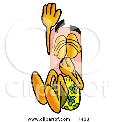 Clipart Picture of a Bandaid Bandage Mascot Cartoon Character Plugging His Nose While Jumping Into Water by Toons4Biz